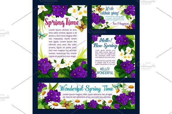 Spring Flower And Butterfly Greeting Card Design