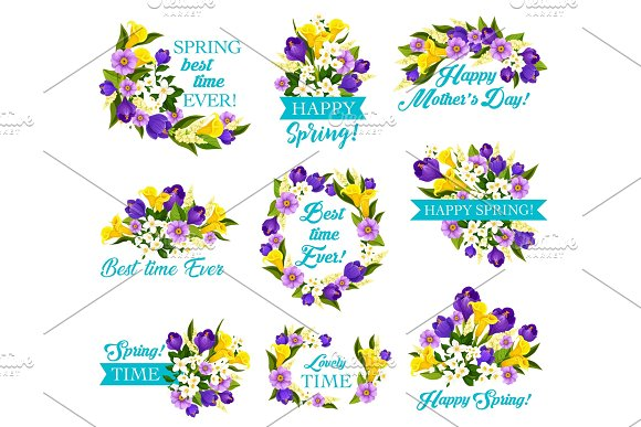 Mother Day Spring Holiday Icon With Flower Bouquet