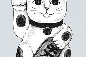 Hand drawn maneki neko (PSD)