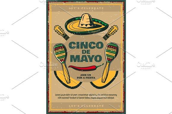Cinco De Mayo Vector Sketch Retro Mexican Poster