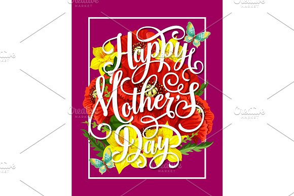 Mother Day Flower With Butterfly Greeting Card
