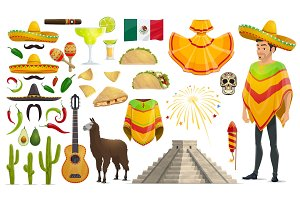 Cinco de Mayo Mexican holiday vector icons