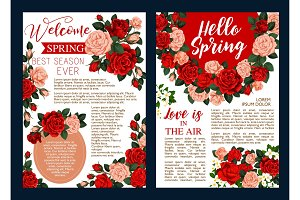Rose flower banner of spring season holiday design