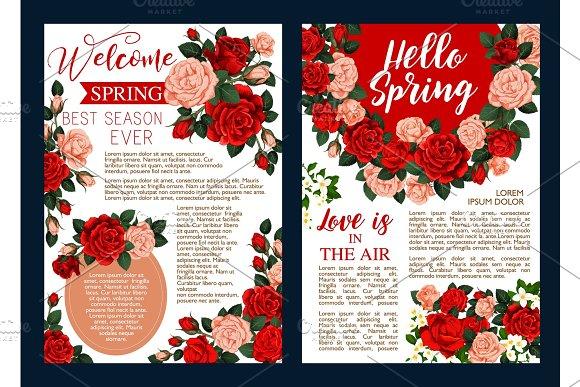 Rose Flower Banner Of Spring Season Holiday Design