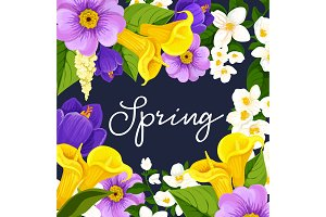 Vector springtime blooming flowers poster