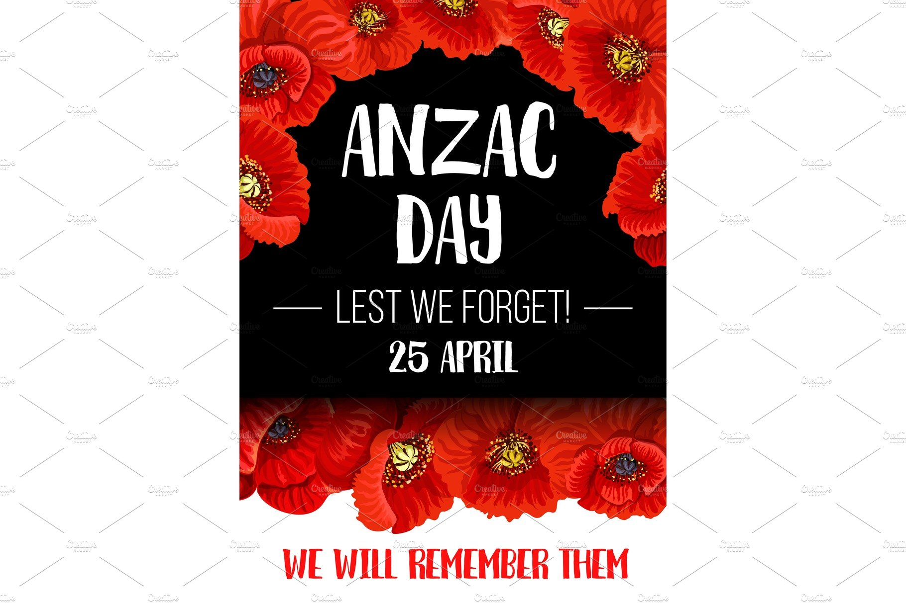 Anzac Remembrance Day Red Poppy Flower Banner Illustrations
