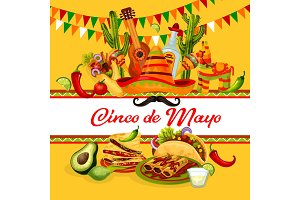 Cinco de Mayo mexican holiday greeting card design