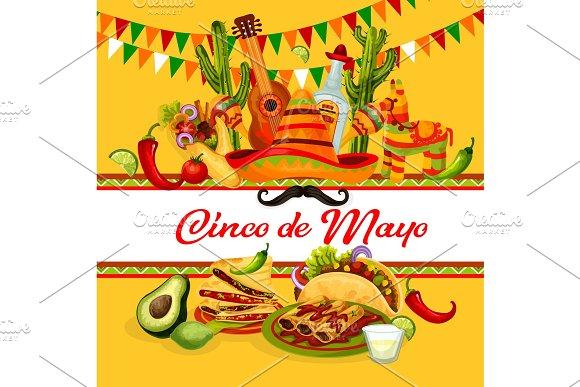 Cinco De Mayo Mexican Holiday Greeting Card Design
