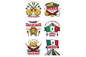 Cinco de Mayo vector retro sketch Mexican icons