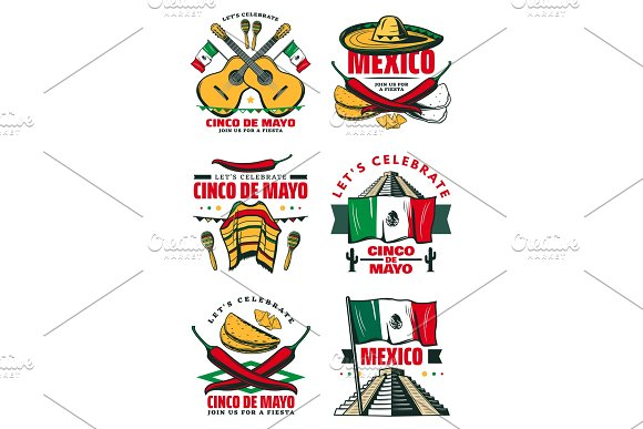 Cinco De Mayo Vector Retro Sketch Mexican Icons