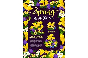 Spring flower greeting card for Springtime Holiday