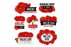 Anzac Day poppy flower memorial card design