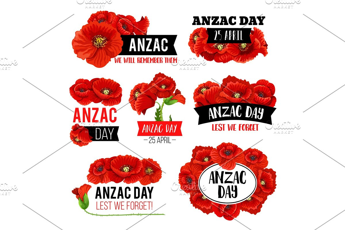 Anzac Day Poppy Flower Memorial Card Design Custom Designed