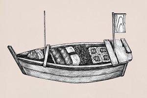 Hand drawn sushi boat (PSD)