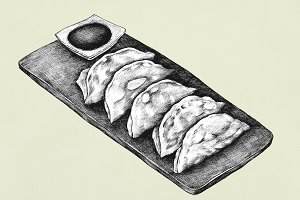 Hand drawn Gyoza Japanese (PSD)