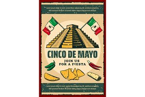 Cinco de Mayo fiesta party retro invitation poster