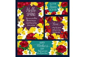 Spring holiday greeting card with rose flower