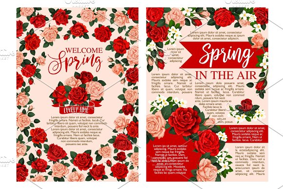 Spring Holiday Greeting Banner Of Blooming Flower