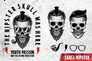 SKULL HIPSTER Hand drawing vector