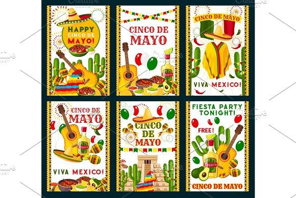 Cinco De Mayo Mexican Vector Greeting Cards