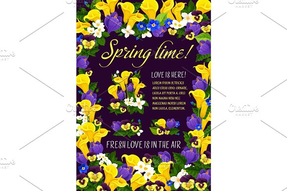 Spring Time Season Greeting Poster In Floral Frame