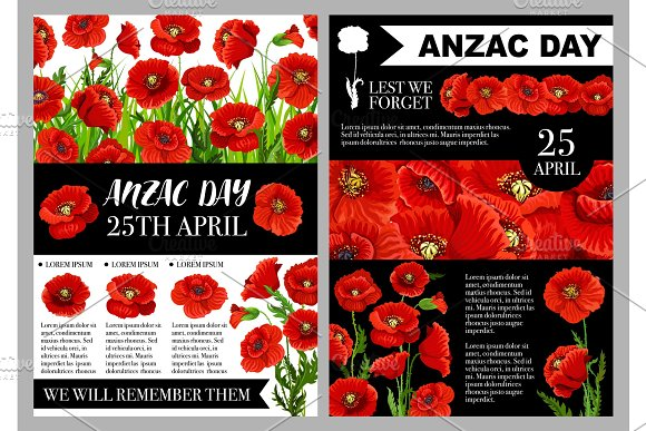 Anzac Day 25 April Holiday Vector Posters