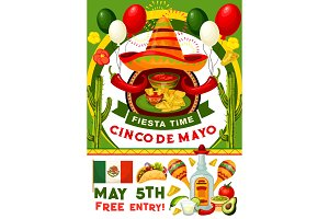 Cinco de Mayo party invitation of mexican holiday