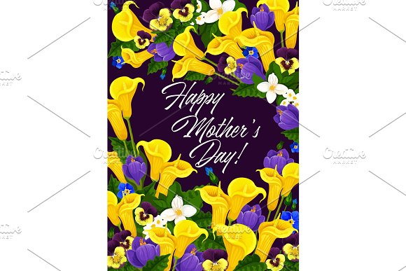 Mother Day Greeting Card In Spring Flower Frame
