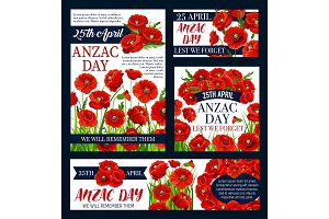 Anzac Day Australian vector Lest We Forget posters