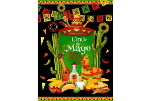 Cinco de Mayo banner for mexican party invitation