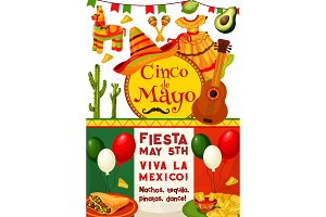 Cinco de Mayo, Viva Mexico fiesta party invitation