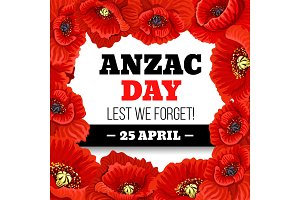 Red poppy flower frame for Anzac Day memorial card