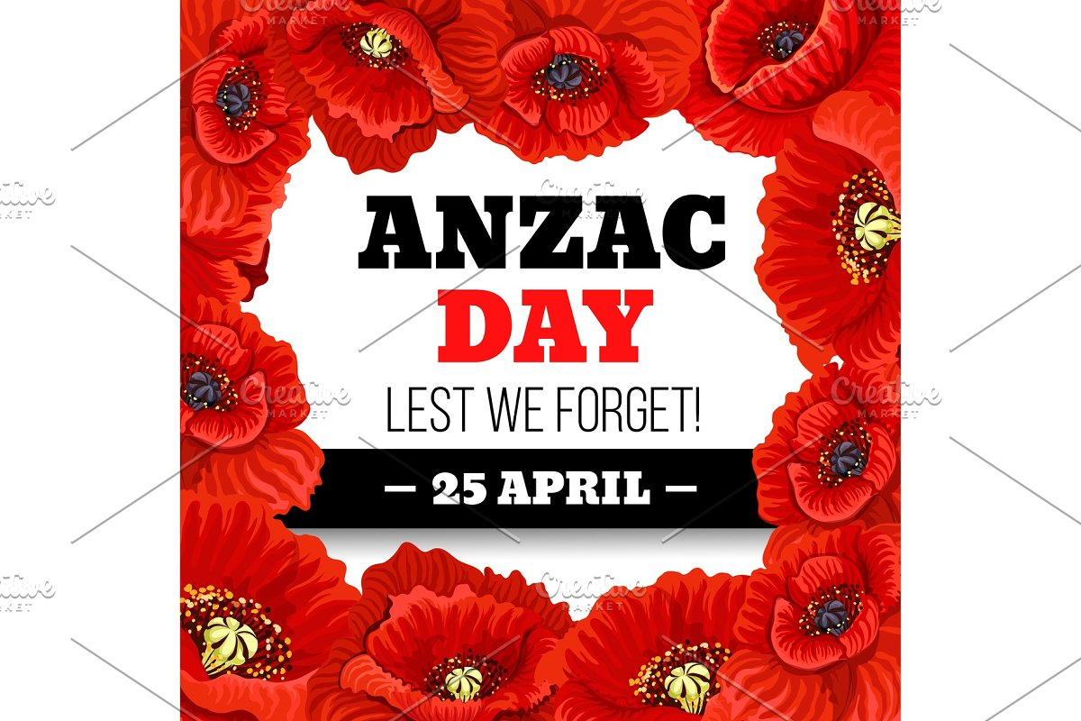 Red Poppy Flower Frame For Anzac Day Memorial Card Custom