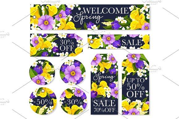 Vector Springtime Sale Floral Flower Bunch Tags