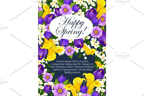 Vector Springtime Holiday Flowers Greeting Card
