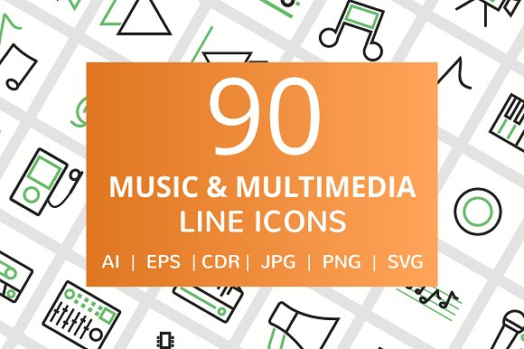 90 Music Multimedia Line Icons