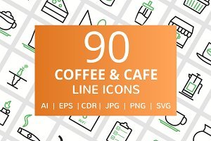 90 Coffee & Cafe Line Icons