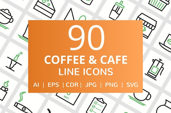 90 Coffee Cafe Line Icons