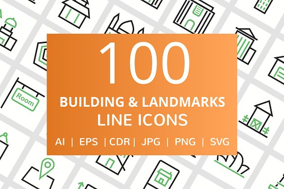 100 Building Landmarks Line Icons