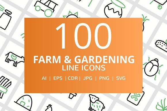 100 Farm Gardening Line Icons