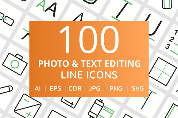 100 Photo Text Editing Line Icons