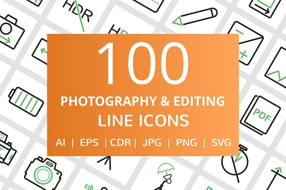 100 Photography Picture Line Icons