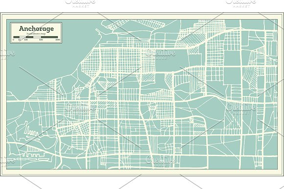 Anchorage Alaska USA City Map