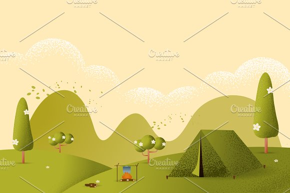 Landscape Hiking And Camping Vector