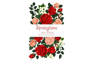 Vector flowers roses spring greeting card