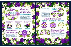 Hello Spring greeting poster with flower bouquet