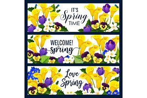 Vector springtime flowers greeting banners