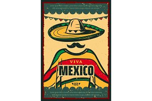 Viva Mexico retro poster for Cinco de Mayo holiday