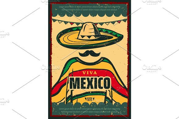 Viva Mexico Retro Poster For Cinco De Mayo Holiday