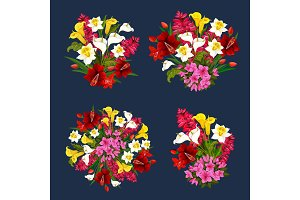 Flower bouquets spring floral icons vector set